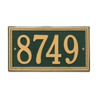 Whitehall Products Double-Line House Numbers Plaque in Green/Gold