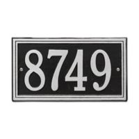 Whitehall Products Double-Line House Numbers Plaque in Black/Silver