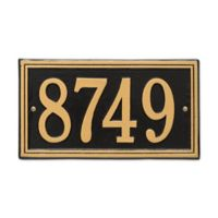 Whitehall Products Double-Line House Numbers Plaque in Black/Gold