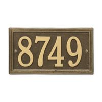 Whitehall Products Double-Line House Numbers Plaque in Antique Brass