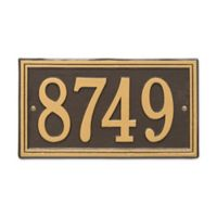 Whitehall Products Double-Line House Numbers Plaque in Bronze/Gold