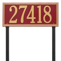 Whitehall Products Single Line Estate Lawn Plaque in Red/Gold