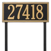 Whitehall Products Single Line Estate Lawn Plaque in Black/Gold