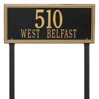 Whitehall Products Double Line Estate Lawn Plaque in Black/Gold