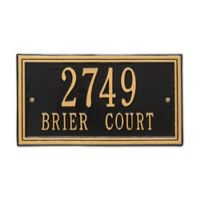 Whitehall Products Double Line 2-Line Standard Wall Plaque in Black/Gold