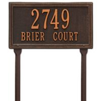 Whitehall Products Double Line Standard Lawn Plaque in Oil Rubbed Bronze
