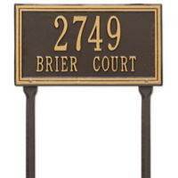 Whitehall Products Double Line Standard Lawn Plaque in Bronze/Gold