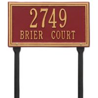 Whitehall Products Double Line Standard Lawn Plaque in Red/Gold