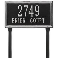 Whitehall Products Double Line Standard Lawn Plaque in Black/Silver