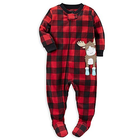 carter's® Zip-Front Buffalo Plaid Moose Fleece Footed ...
