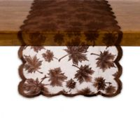 "Maple Leaf 72"" Round Table Runner in Brown"