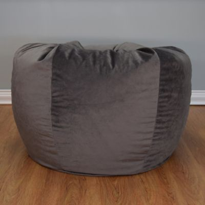 Extra Large Washed Velvet Bean Bag Chair In Dove