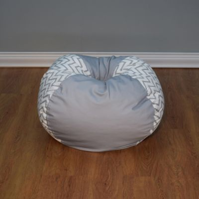 Medium Bean Bag Chair In Grey Chevron