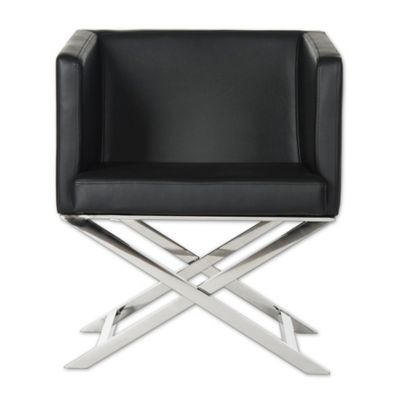 Safavieh Celine Leather Accent Chair In Black