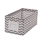 Small Canvas Storage Bin with Chevron Print in Grey