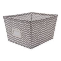 Sherry Hanson Large Accessory Bin with Chevron Print in Grey