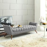 Modway Response Fabric Bench in Expectation Grey