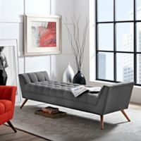 Modway Response Fabric Bench in Grey