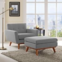 Modway Engage Arm Chair and Ottoman Set in Expectation Grey