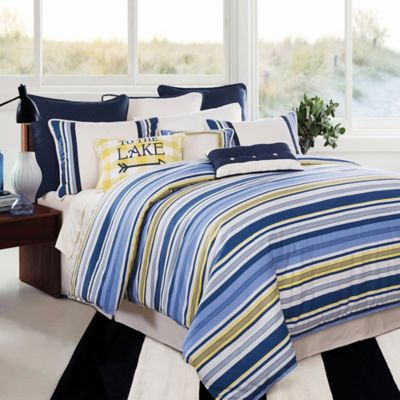 Buy Navy Blue Striped Comforter Sets From Bed Bath Beyond - Blue and yellow comforter sets king