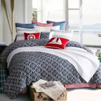 HiEnd Accents St. Clair Queen Comforter Set in Navy/White