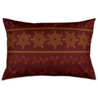 Rustic Holiday King Pillow Sham in Beige/Maroon