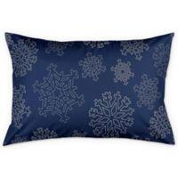 Snowflake King Pillow Sham in Blue/Silver