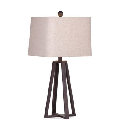 Bassett Mirror Company Belgian Modern Denison Table Lamp In Rustic Bronze  With Fabric Shade