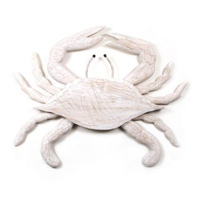 Hand Carved Wooden Crab Wall Sculpture In White