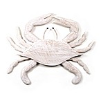 Hand-Carved Wooden Crab Wall Sculpture in White