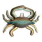 Hand-Carved Wooden Crab Wall Sculpture in Blue