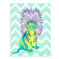 "GreenBox Art Murals That Stick ""Ceremonial Tiger"" 18-Inch x 24-Inch Wall Art in Blue"