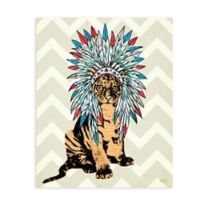 "GreenBox Art Murals That Stick ""Ceremonial Tiger"" 28-Inch x 35-Inch Wall Art in Beige"