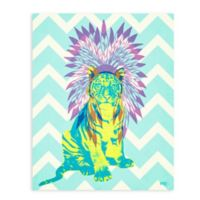 "GreenBox Art Murals That Stick ""Ceremonial Tiger"" 28-Inch x 35-Inch Wall Art in Blue"
