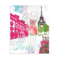 """GreenBox Art Murals That Stick """"City Girl - Paris"""" 18-Inch x 24-Inch Wall Art"""