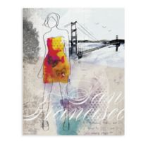 "GreenBox Art Murals That Stick ""City Girl - San Francisco"" 18-Inch x 24-Inch Wall Art"