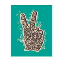 "GreenBox Art Murals That Stick ""Floral Peace"" 28-Inch x 35-Inch Wall Art in Green"