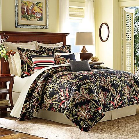 Tommy Bahama 174 Jungle Drive Comforter Set In Black Bed