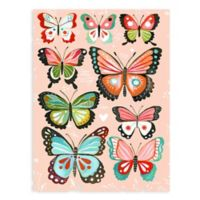 GreenBox Art Pink Butterflies 18-Inch x 24-Inch Wheatpaste Poster Wall Art