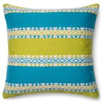 Loloi South West Bands Square Down Throw Pillow in Lime