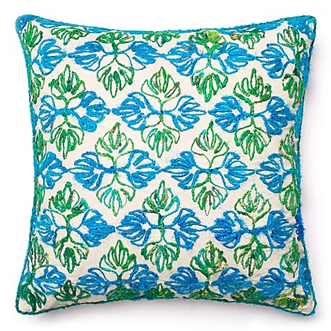 Loloi Artemis Down Square Throw Pillow in Green/Blue - Bed Bath & Beyond