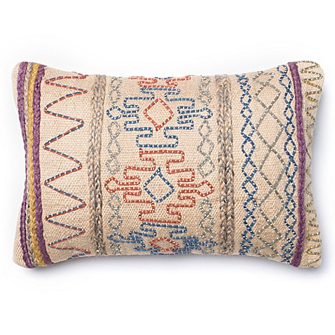 Loloi Aztec Yarn Rectangle Down Throw Pillow in Tan - Bed Bath & Beyond