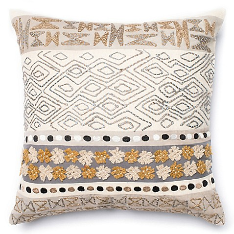 Throw Pillows Native American : Pieced Yarn Neutral Square Throw Pillow in Beige/Grey - Bed Bath & Beyond