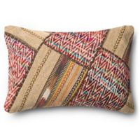 Loloi Pieced Aztec Rectangle Throw Pillow in Beige