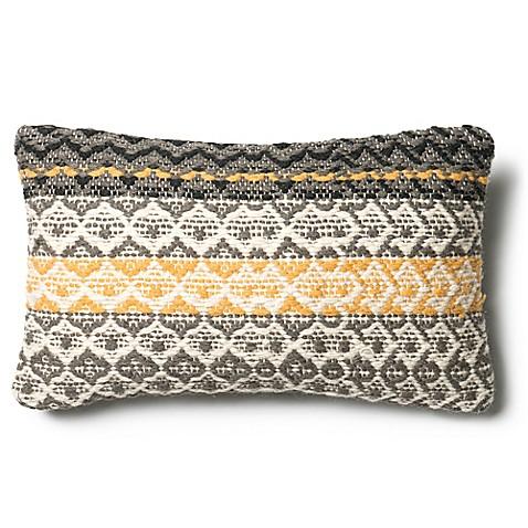 Loloi Diamond Weave Rectangle Throw Pillow In Grey Gold