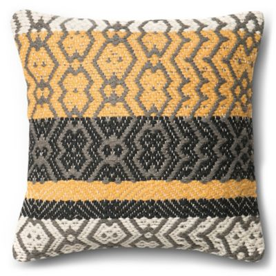 loloi vertical chain square throw pillow in goldgrey