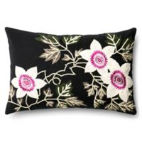 Loloi Floral Embroidery Rectangle Throw Pillow in Black/Ivory