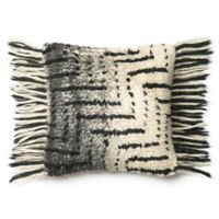 Loloi Horizontal Fringe Square Throw Pillow in Black/Ivory