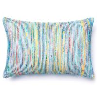 Loloi Multicolored Yarn Ribbed Oblong Throw Pillow in Blue