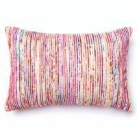 Loloi Multicolored Yarn Ribbed Oblong Throw Pillow in Red